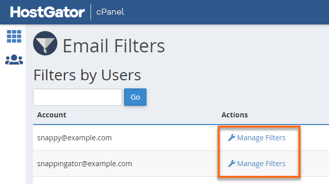 HostGator cPanel Manage UserFIlters
