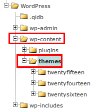 Location for WordPress theme directory.