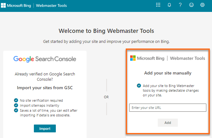 Microsoft Bing - Add Website