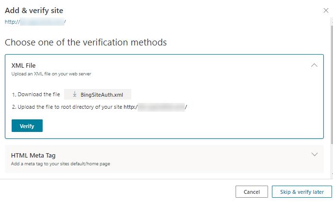 Microsoft Bing - Choose Verification Method