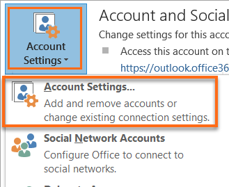 Microsoft Outlook Account Settings