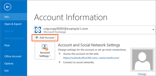 Microsoft Outlook Add Account Button
