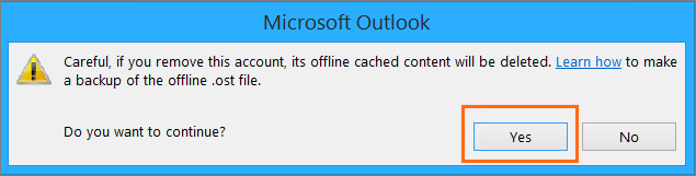 Microsoft Outlook Confirm Account Removal