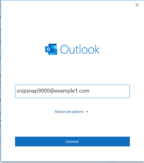 Microsoft Outlook Connect Account Screen