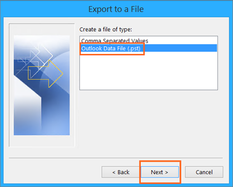 Microsoft Outlook Import and Export Wizard Outlook Data File