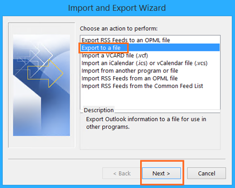 Microsoft Outlook Import and Export Wizard Export To A File
