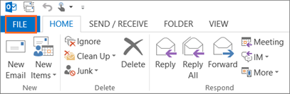 Microsoft Outlook FILE Button
