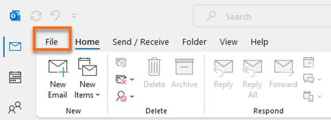 Microsoft Outlook FILE Button