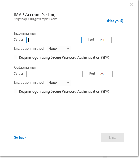 Microsoft Outlook IMAP Connection Settings
