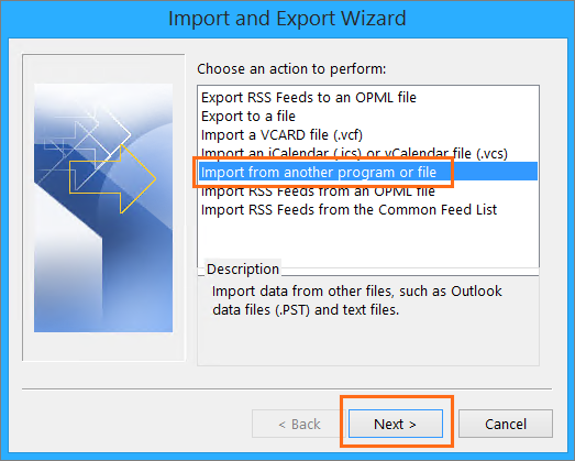 Microsoft Outlook Import Export Wizard Import Options