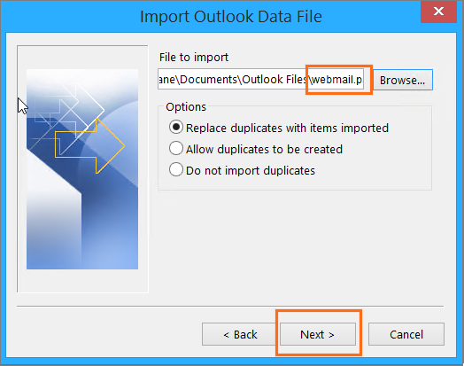 Microsoft Outlook Import Export Wizard Import Choose .pst