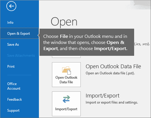 Microsoft Outlook Open and Export