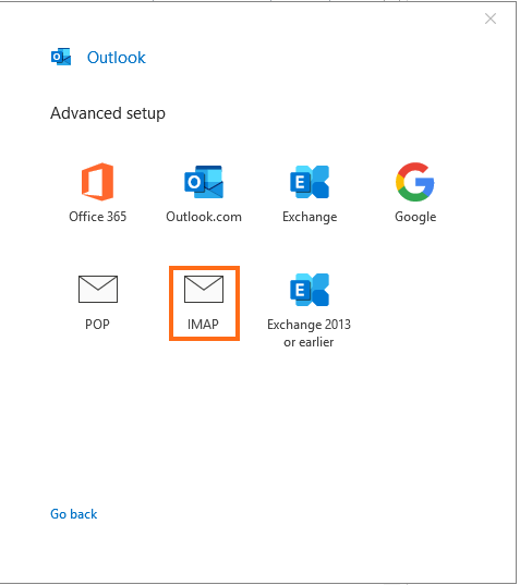 Microsoft Outlook Select Account Type