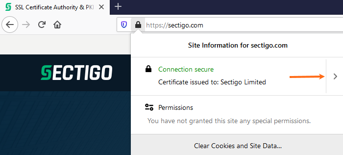 Mozilla FireFox - Certificate Issued