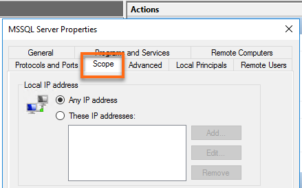 MSSQL Server Properties Scope Tab