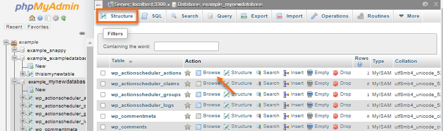 phpMyAdmin - Structure - Browse