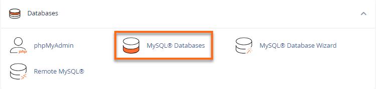 cPanel - MySQL Databases
