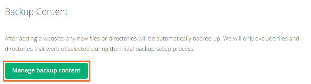 Manage backup button