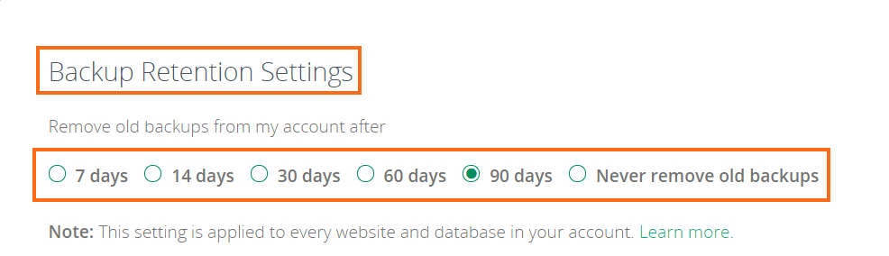 backup retention settings