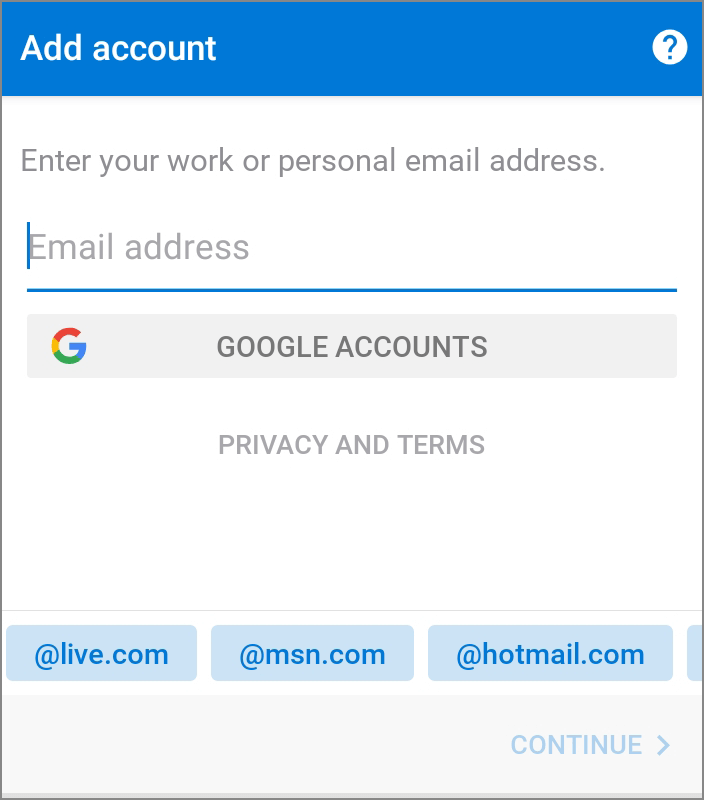 Office Android App Add Account
