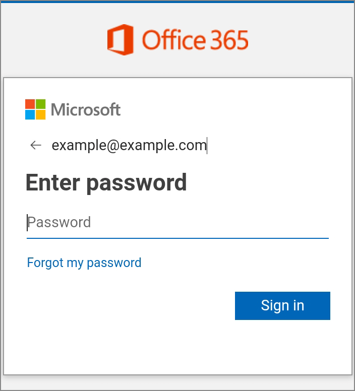 Enter password for Office 365 email on Android
