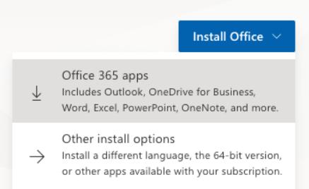 Microsoft 365 installation drop-down options