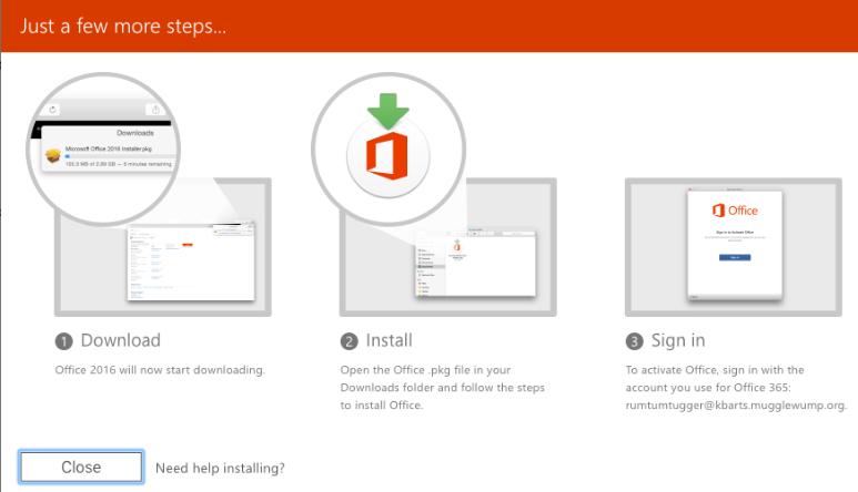 Microsoft 365 installation step through screen