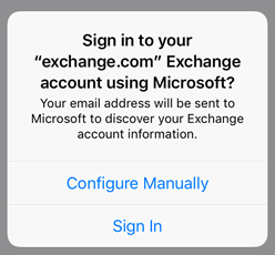 Popup to sign in to the Office 365 account
