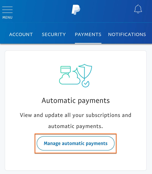 PayPal Mobile - Manage Automatic Payments