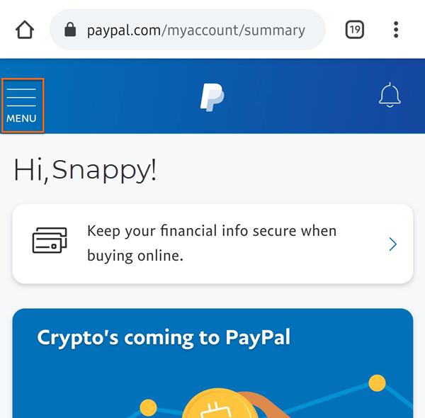 PayPal Mobile Menu