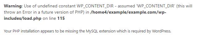 Missing MySQL Extension Error