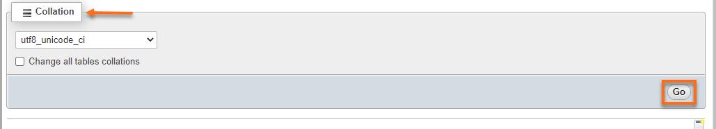 phpmyadmin collasion tab