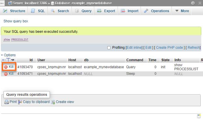 phpMyAdmin - Kill MySQL Process