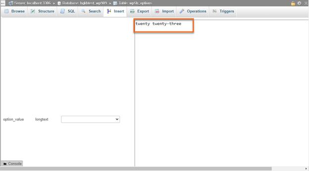 phpmyadmin Edit option_value