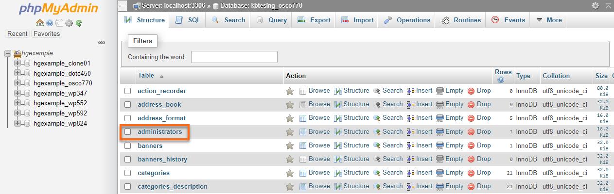 HostGator Databases phpMyAdmin osCommerce Administrators