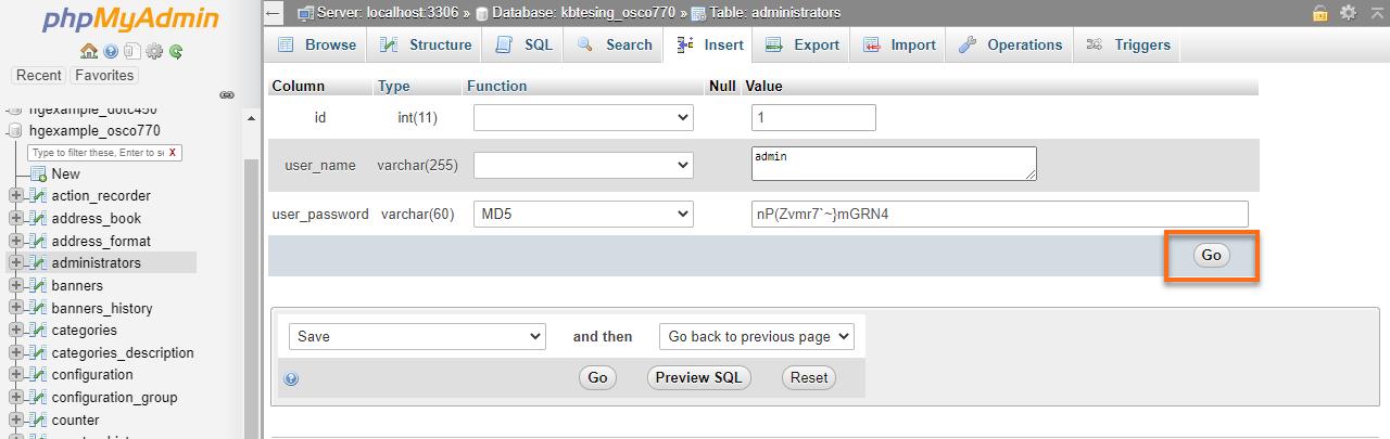 HostGator Databases phpMyAdmin osCommerce Change Password User Go