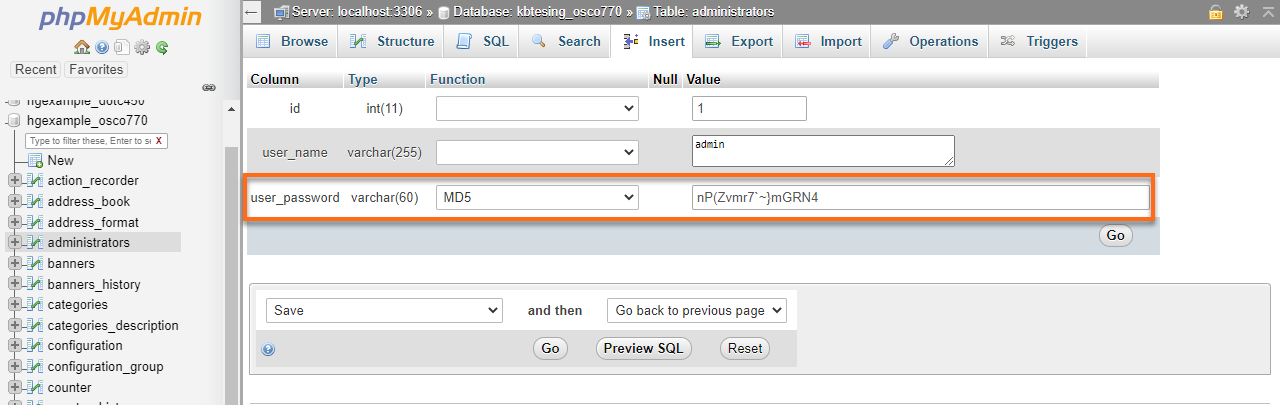 HostGator Databases phpMyAdmin osCommerce Change Password User