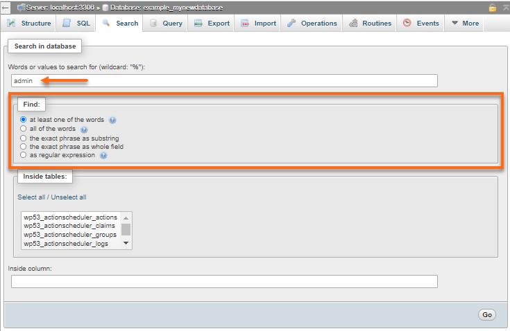 phpMyAdmin - Search - Keyword Filter