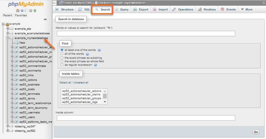 phpMyAdmin - Search tab