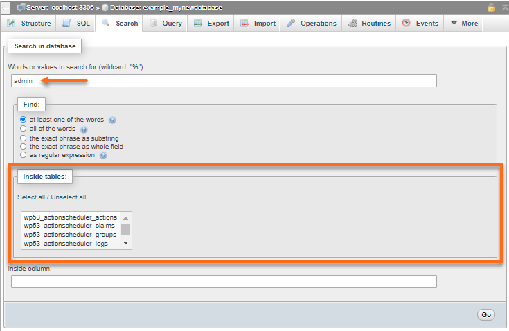 phpMyAdmin - Search - Table Filters
