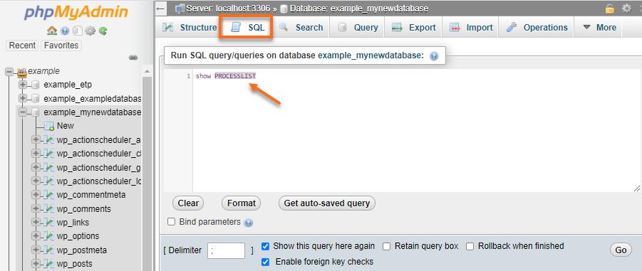 phpMyAdmin - SQL - Show ProcessList