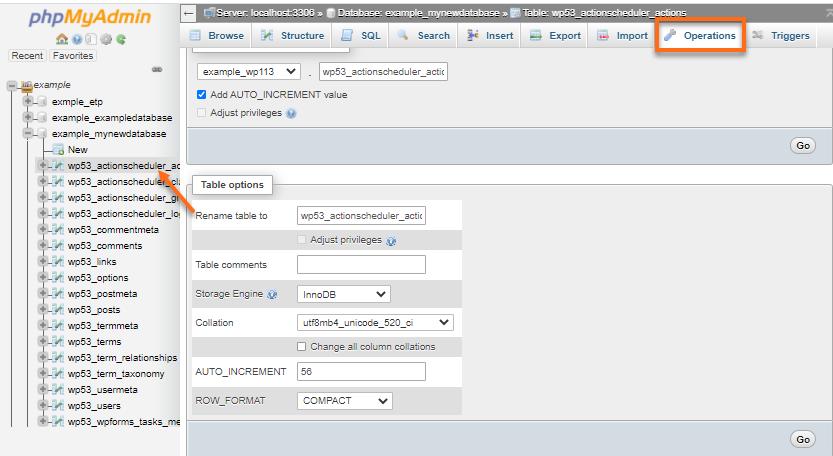 phpMyAdmin - Opertions tab