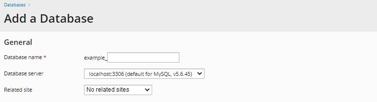 Plesk - Enter Database Details