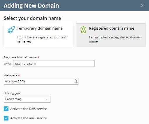 Plesk - New Domain Details