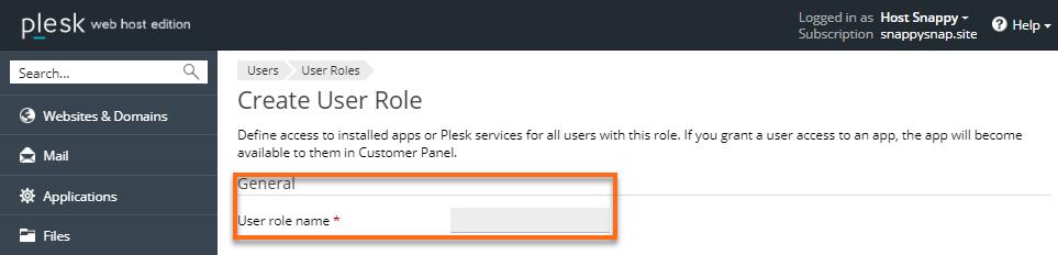 HostGator Plesk User Role Name
