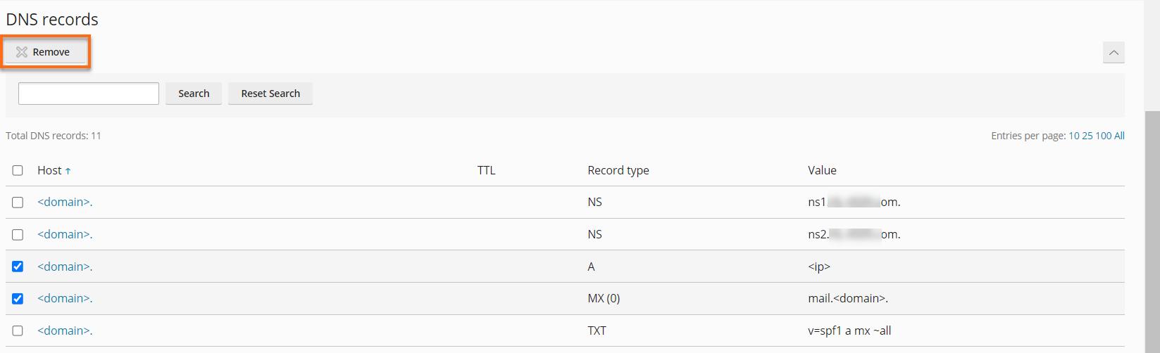 HostGator - Plesk Remove Resource Record