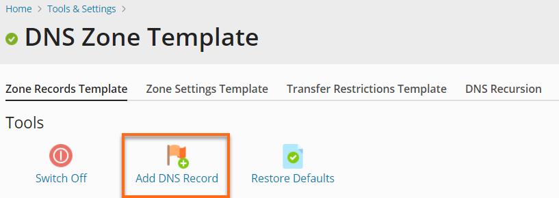HostGator - Plesk Add DNS Record Icon