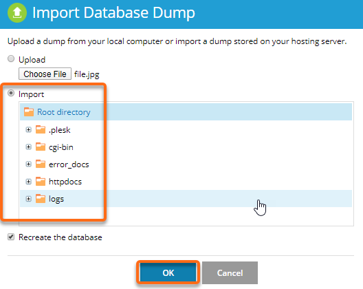 Import Databases Dump Import