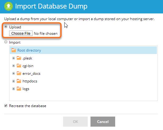 Import Database Dump Upload