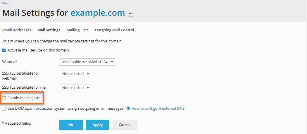 HostGators Plesk - Mail Settings